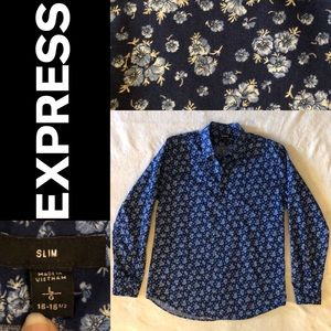 Express Navy blue floral collar button up shirt.